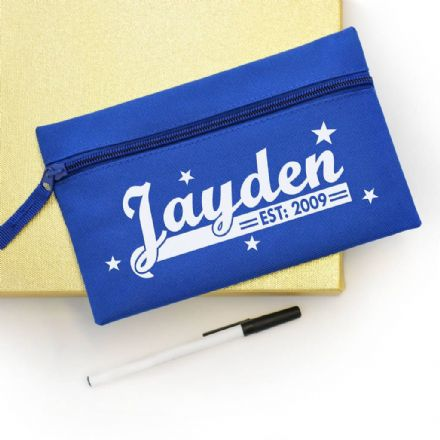 Personalised Blue Retro Pencil Case